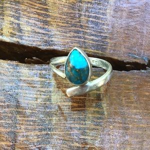 Genuine turquoise and 925 silver ring size 6
